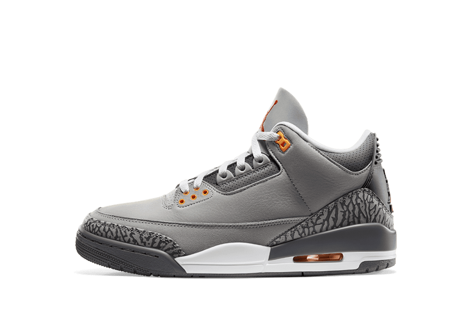 image of Air Jordan 3 Retro Silver/Light Graphite/Orange Peel/Sport Red