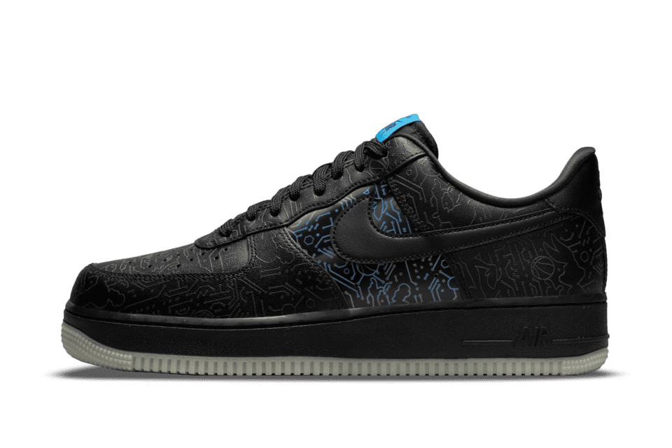 image of Nike Air Force 1 '07 x Space Jam: A New Legacy Black/Light Blue Fury/Black